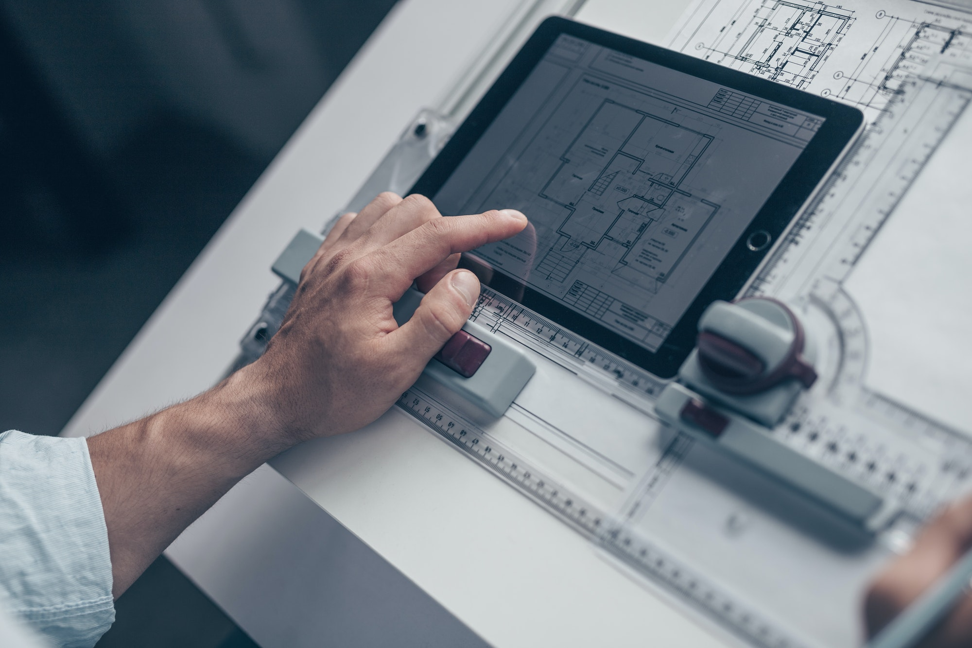 Architect with drawing