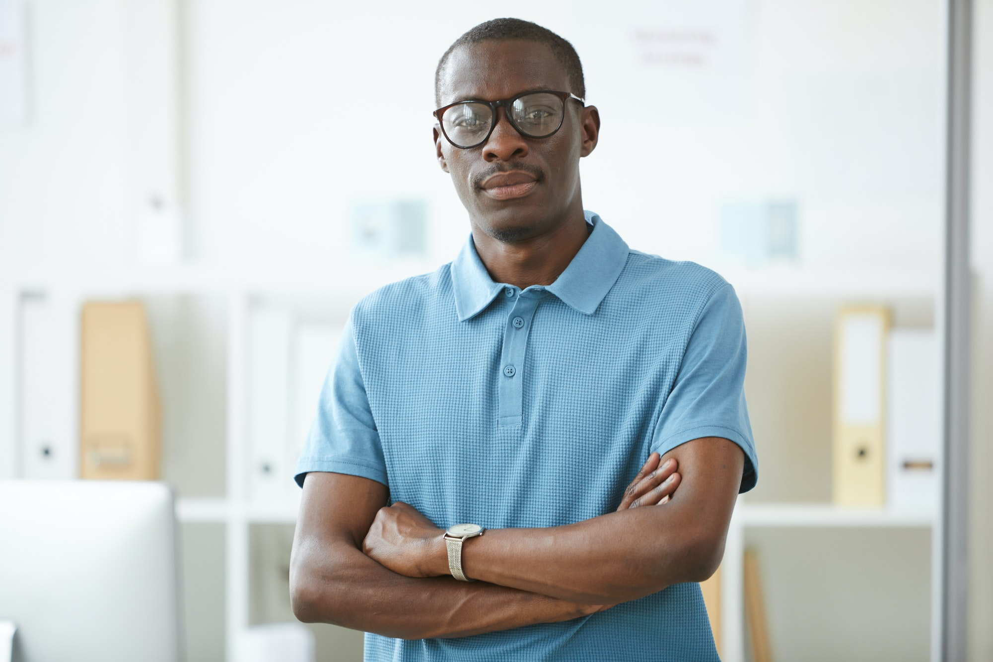 Confident African office worker